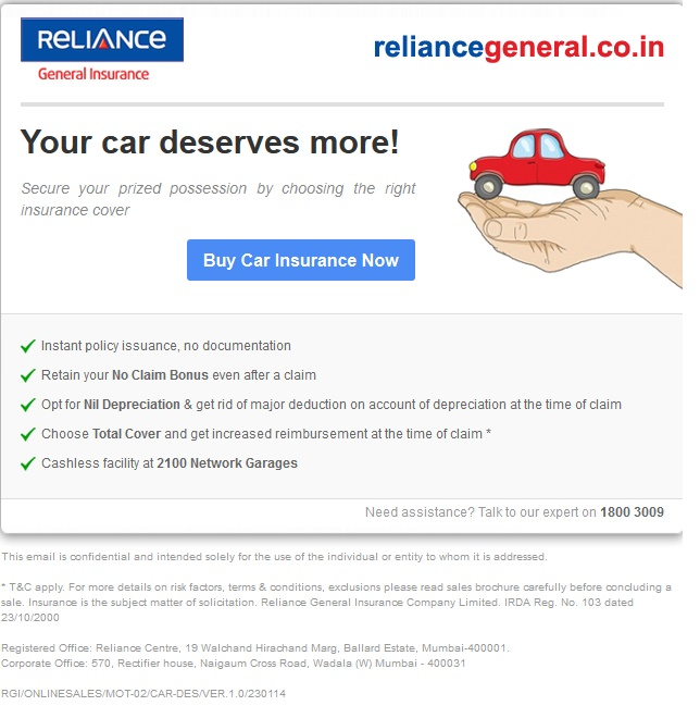 Image of: Insurance Company Right Insurance Policy For Your Car Reliance General Insurance Get The Right Insurance For Your Car At Reliance General Insurance